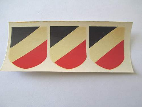 Strip of three Tri Color National Shields for sale
