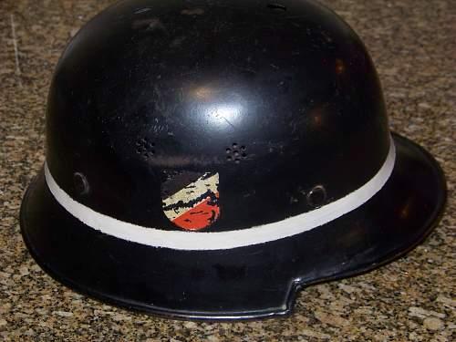 M34 DD luftwaffe crash crew helmet with hairy bird decal
