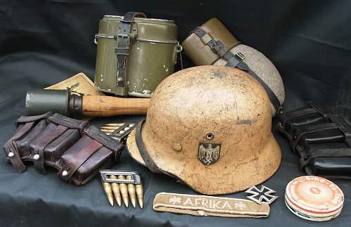 Click image for larger version.  Name:DAK helmet and militaria 001.jpg Views:18 Size:226.4 KB ID:605871