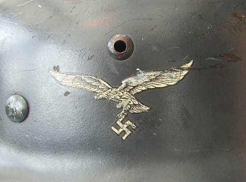 Luftwaffe M35 double decal helmet, 2nd pattern eagle, with some history