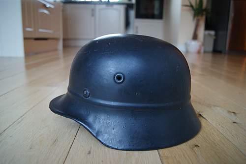 Beaded M40 no-decal Luftschutz helmet