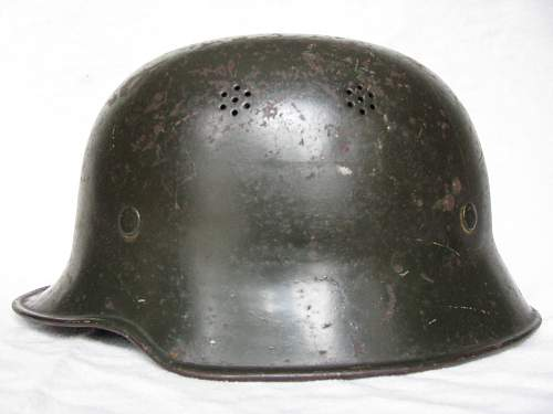 M34 Curved Dip RLB Helmet - Dark Green Smooth Paint - Small Decal