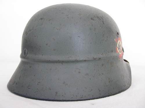 Grey M40 Double Decal Beaded Combat Luftschutz Polizei Helmet