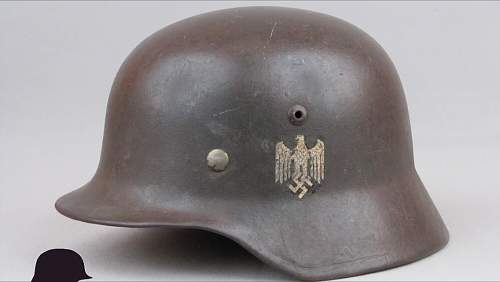Advice on the authenticity of a M1935 Heer German Helmet for sale online.