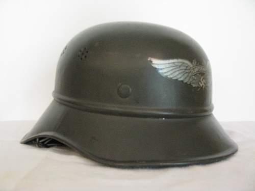 Three Piece Luftschutz Helmet - Factory Green Paint