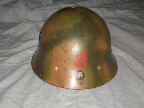 WWII Swedish German Camo Helmet