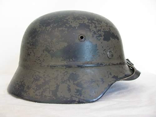 M35 Beaded Helmet - Former Double Decal Luftschutz Combat Police - Volkssturm Used?