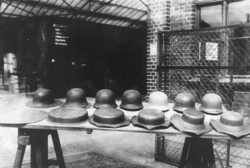 Different stages of helmet manufacturing.