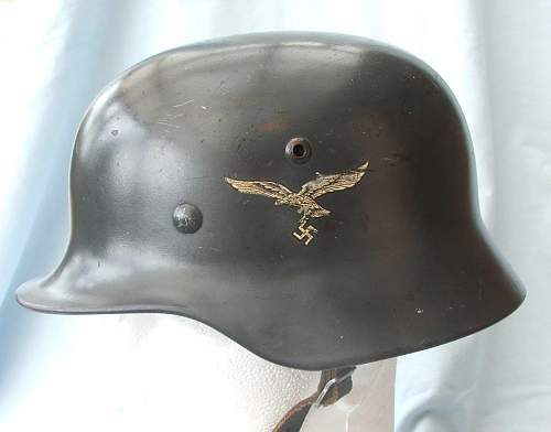 Luftwaffe M35 Q66 double decal helmet with some history