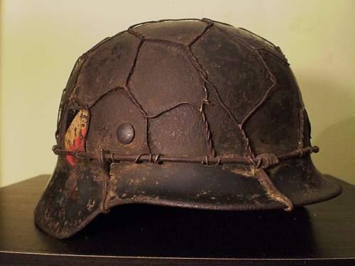 German Helmet M35 WWII Camo-WIRE from ITALY -ORIGINAL