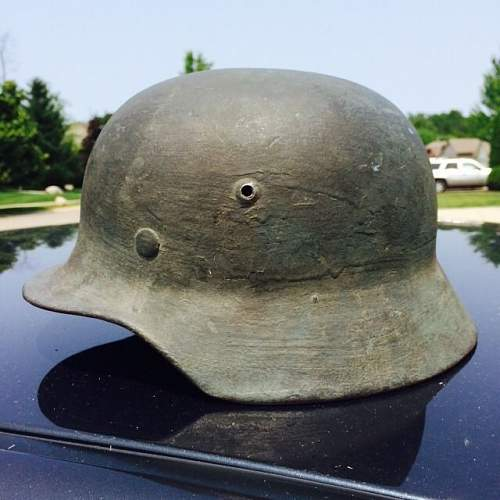 m35 helmet with sloppy finished  camo