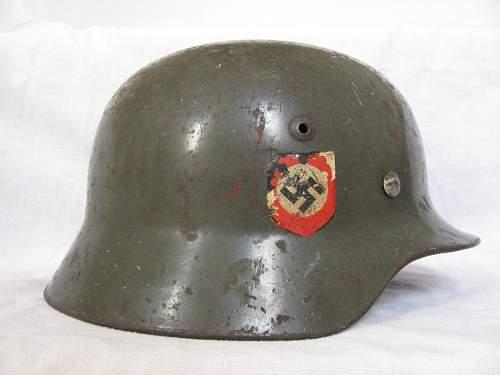 M35 Double Decal Combat Police Helmet - ET62 - Lot # 3984