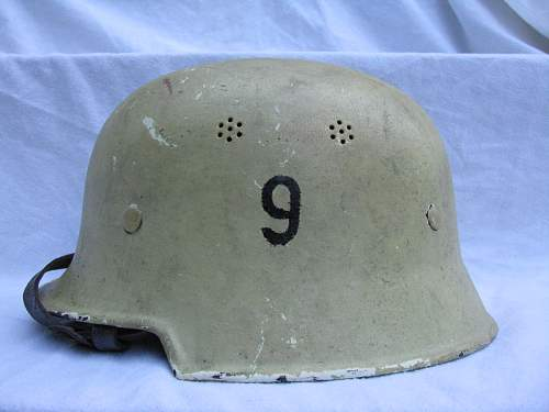 """M34 Square Dip Civic Helmet - Painted White w/ """"9"""" Stenciled On Each Side"""