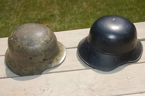 Two Helmets on Craigslist: One Army M-42 Camo, One Luftschutz Gladiator