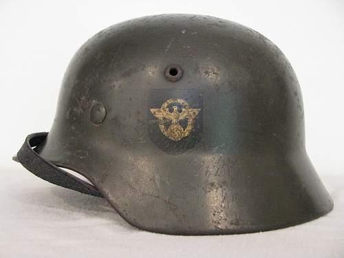 M35 Double Decal Combat Police Helmet - ET62 - Lot # 4392