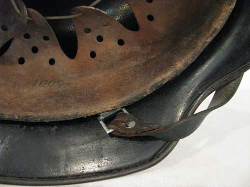 M40 Flat Black SS Helmet - Hand Rendered Insignia - ET66 - Lot # 1764