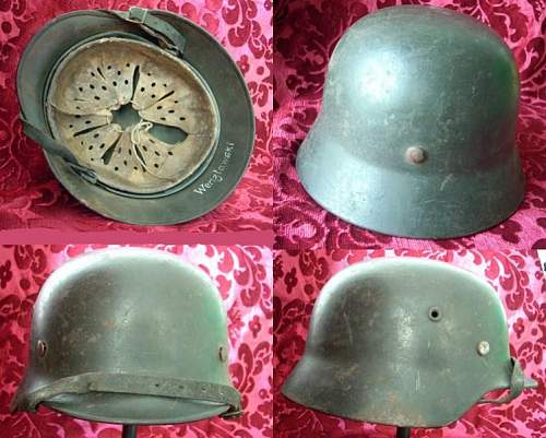Three german steel helmets