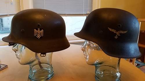 my 2 stahlhelme, one m42 luftwaffe, one m35 dub decal