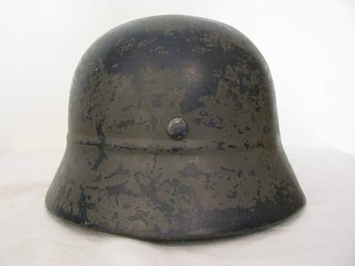 Combat Used Beaded Helmet - Former Double Decal Combat Police Helmet