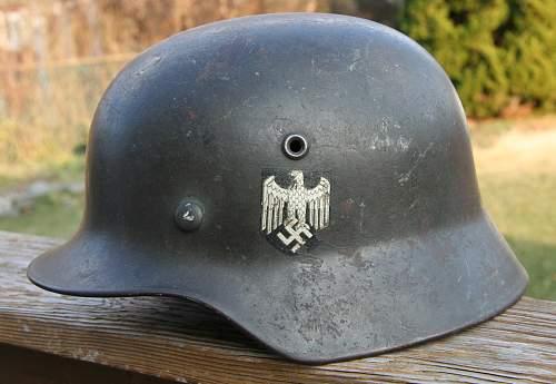 Click image for larger version.  Name:1 M40 ET 62 German Helmet 425.00 Purch. 1-22-15.jpg Views:249 Size:91.6 KB ID:991201