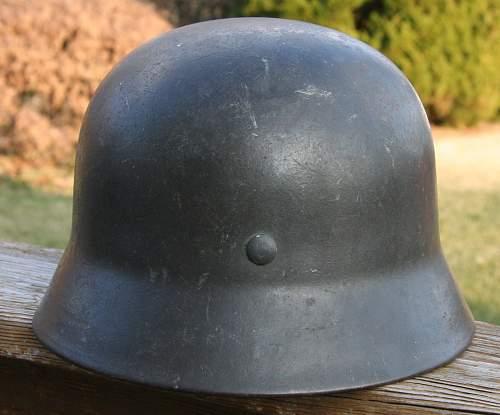 Click image for larger version.  Name:2 M40 ET 62 German Helmet.jpg Views:24 Size:89.1 KB ID:991202