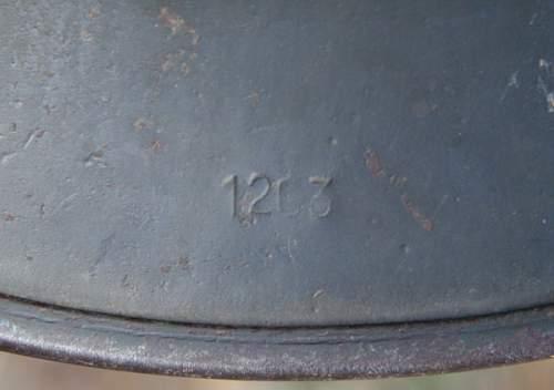 Click image for larger version.  Name:7 M40 ET 62 German Helmet.jpg Views:12 Size:77.2 KB ID:991207
