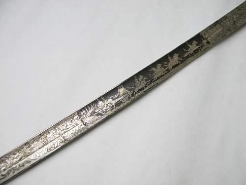 """Artillery lionhead sabre, marked """"Gew (?) vom Stammpersonal"""""""