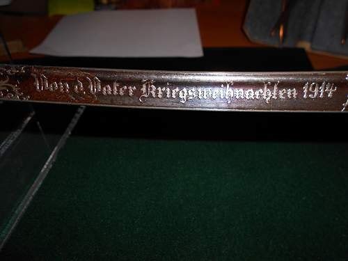 Kinder saber with double etched blade