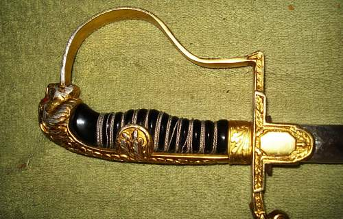 Puma panther sword, with jeweled eyes