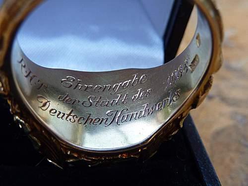Golden Honourring of the city of Frankfurt, Ehrenring der Stadt des Deutschen Handwerks 1938