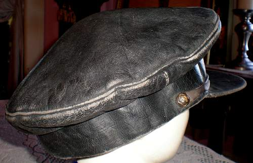 Early Soviet Air Force Leather Visor Cap
