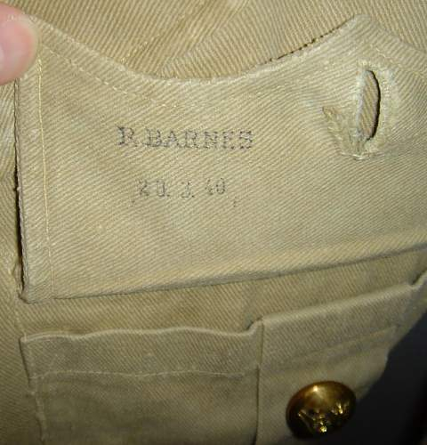 WW2 British Army Artillery Colonel, MC, khaki cotton jacket.