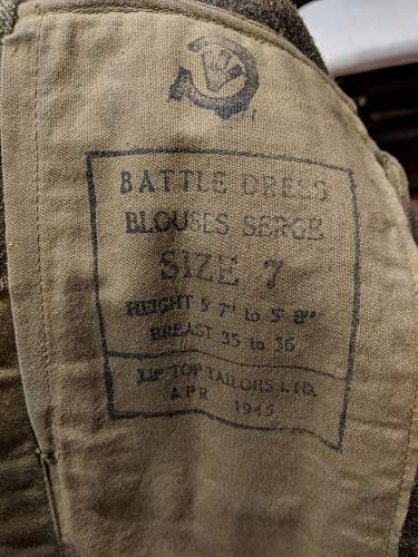 WW2 5th Canadian Division Battledress Tunic