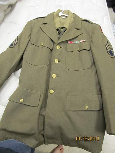 US 28th Inf Div dress tunic, wool shirt and tie