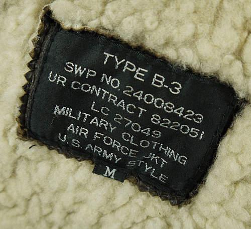 B-3 Bomber Jacket - Please Help.