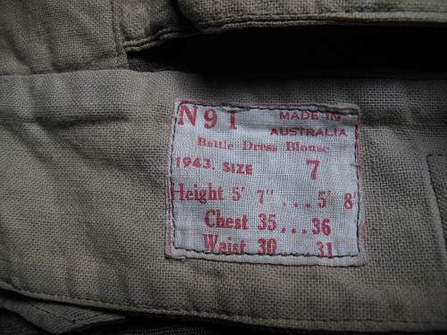 78th Division Battle Dress blouse of a Royal Veterinary Army Corps lieutenant