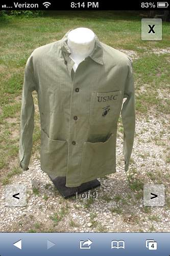new original ww2 usmc p41 jacket with name stencil on back