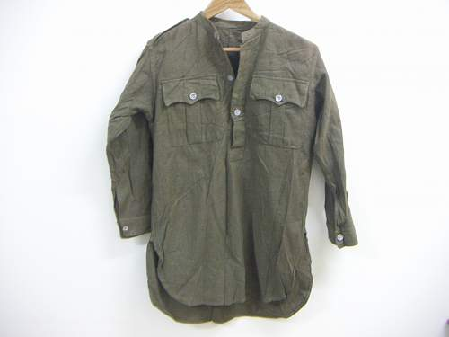 Unknown wool half placket collarless shirt