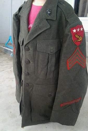 USMC dress uniform of Sgt. Farkas, 5th Amphibious Corps