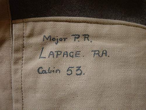 A Battledress blouse with just a name inside.