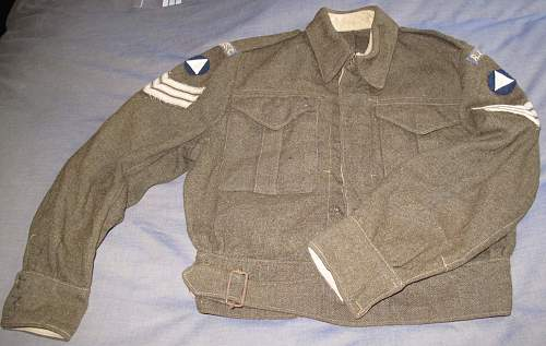 1943 Canadian Made BD bloused badged to a sergeant of the RASC, 1st Division