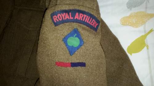 Royal Artillery 1939 battledress named