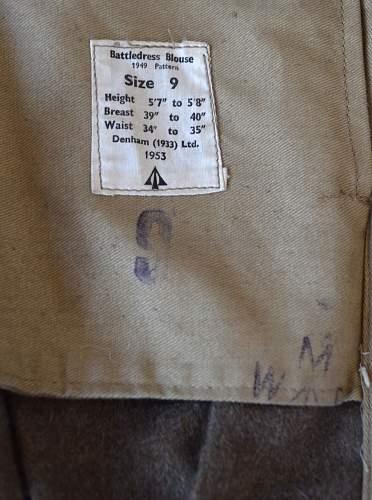 Royal naval reserve battledress blouse