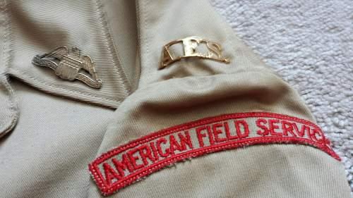 WW2 American Field Service officer uniform