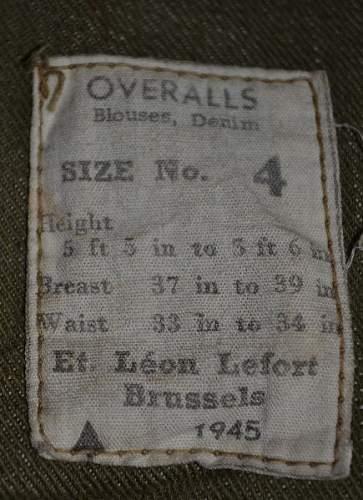 1945 Denim  Battledress blouse manufacturer?