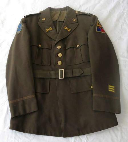 US WW2 4th Armoured Division Captain's 4 pocket jacket