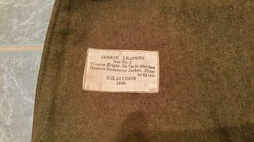 WW2 or WW1 Australian made and issued Jerkin