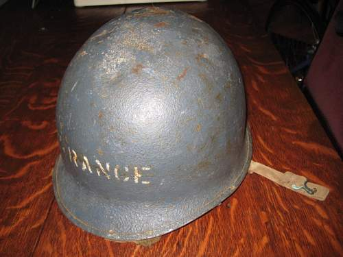 WW2 Navy Shipboard blue helmet with Marine marked Hawley liner marked