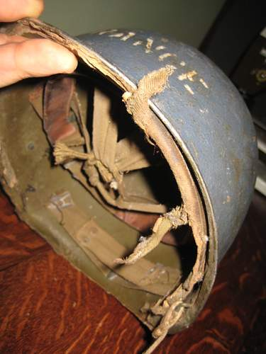 WW2 Navy Shipboard blue helmet with Marine marked Hawley liner marked