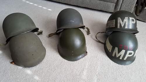 WW2 M-1 Combat helmet for 796th MILITARY POLICE BATTALION super rare unit marked.